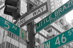 Street signs for Fifth Avenue and West 46nd street in NYC - stock photo