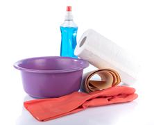 Glass cleaner with cleaning equipment - stock photo