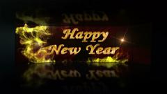 Happy New Year, Gold Text in Monitor, with Green Screen, 4k - stock footage