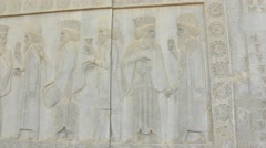 Persian noblemen relief detail Persepolis Stock Footage