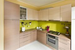 Modern domestic kitchen, stylish interior design Stock Photos