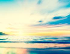 An abstract seascape with blurred zoom motion on paper background Stock Photos