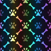 Animal spectrum seamless pattern of paw footprint - stock illustration