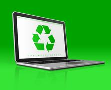 Laptop with a recycling symbol on screen. environmental conservation concept - stock illustration