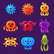 Cartoon Sea Animals, Marine Life Colorful Vector Illustration - stock illustration
