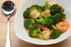 stir-fried broccoli with shrimp - stock photo