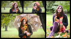 Beautiful young woman sitting in autumn park. Collage - stock footage