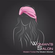 Woman look at side in pink turban on black - stock illustration