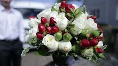 Bee on wedding bouquet - stock footage