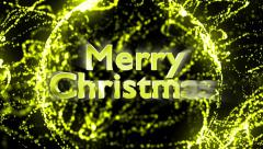 Merry Christmas, Gold Text in Monitor, with Green Screen, 4k Stock Footage