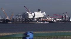 Pioneering Spirit, formerly Pieter Schelte, in Arianehaven Maasvlakte 2 Stock Footage