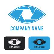 Shutter eye conceptual flat abstract icon - stock illustration