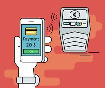 Illustration of mobile payment via smartphone nfc function Stock Illustration