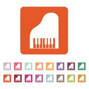 The piano icon. Music and pianist, musician, synthesizer symbol. Flat Stock Illustration