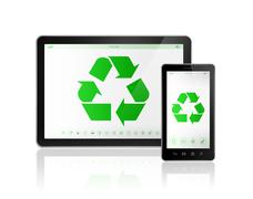 3D Digital tablet PC with a recycle symbol on screen. environmental conservat - stock illustration