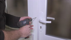 Burglary with drill machine. Einbruch mit Bohrmaschinen Stock Footage