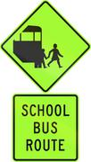 Road sign assembly in New Zealand - School bus route, fluorescent version Stock Illustration