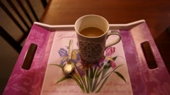 Tea cup on the table Stock Footage