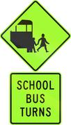 Road sign assembly in New Zealand - School bus turns, fluorescent version Stock Illustration