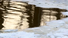 Thin ice on the river with a natural sound Stock Footage