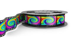 reel of film with color pictures - stock illustration
