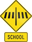 Road sign assembly in New Zealand - Zebra crossing at school Stock Illustration