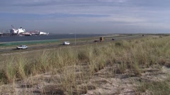 Pioneering Spirit, formerly Pieter Schelte berthed at Maasvlakte 2 + pan Stock Footage