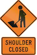 Road sign assembly in New Zealand - Shoulder closed Stock Illustration