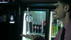 Barman shows trick with a bottle. Stock Footage