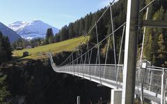 Stock Photo of Rope suspension bridge over Hohenbachtal 20051m long and 105m high Holzgau