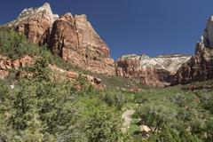 Stock Photo of View towards Zion Canyon and North Fork Virgin River Emerald Pools Trail Zion