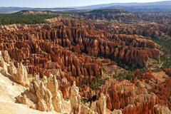 View of Bryce Amphitheater from Bryce Point coloured rock formations fairy - stock photo