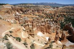 View of coloured rock formations from Sunset Point fairy chimneys Bryce Stock Photos