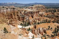 View of coloured rock formations from Sunset Point fairy chimneys Bryce - stock photo