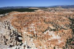 View of coloured rock formations from Bryce Point fairy chimneys Bryce - stock photo