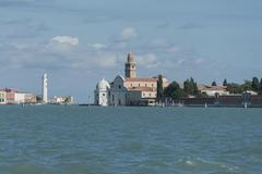 Cemetery island San Michele San Michele in Isola church and hexagonal Cappella Stock Photos