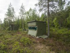 Observation lodges in Finnish Taiga Kainuu North Karelia Finland Europe Kuvituskuvat