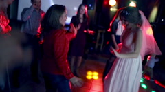 Bride dancing with the guests on the dance floor Stock Footage