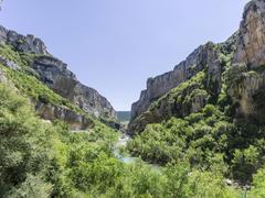 Canyon path Foz de Lumbier Liedena Navarre Spain Europe - stock photo