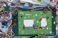 Xmas scrapbook layout  with a Happy xmas message in English Stock Photos