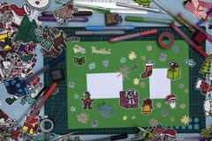 xmas scrapbook layout  with a Happy xmas message in Spanish - stock photo