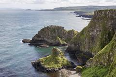 Stock Photo of Basalt cliffs along Causeway Coast County Antrim Northern Ireland United