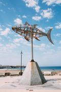Weather vane in shape tuna in Tarifa, Spain - stock photo