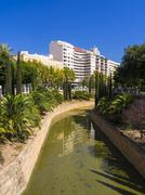 Sa Sierra historical city canal and Passeig Mallorca Porta de Santa Catalina - stock photo