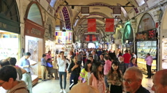 Customers in The Grand Bazaar, Istanbul, Turkey Stock Footage