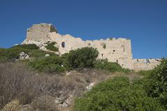 Kastellos Kritinia ruins Rhodes Dodecanese Greece Europe - stock photo