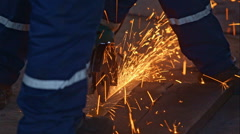 Worker cutting the metal - stock footage