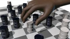 Game of checkers played with oils drums, 3D animation - stock footage