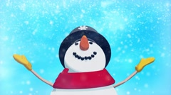 Stock Video Footage of Snowman looking up winter animation loop.