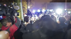 Protesters and Police Barrier Clash in city streets - stock footage
